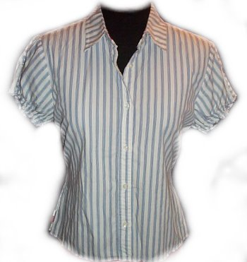 TOMMY HILFIGER Striped Short Sleeve Blouse - XL