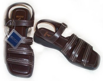 ECCO Brown Leather Sandals - 7.5 / 8