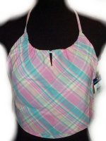 RALPH LAUREN Pink Madras Halter Top - Girls Medium