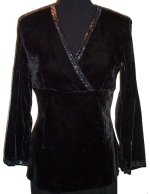 CAROLE LITTLE Sexy Low V Front Black Velvet Blouse Top - Misses/Jrs S - NEW