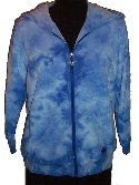 OLEG CASSINI Blue Tie Dyed Terry Zip Front Hoodie - Size M