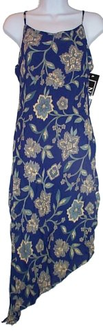 NOLITA Beautiful Blue Floral Asymmetrical Hemmed Dress - Medium