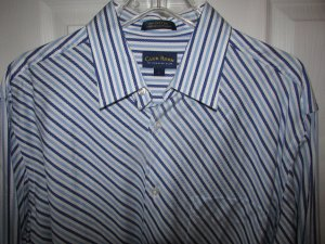 CHARTER CLUB CLUB ROOM Trendy Striped Shirt - Mens Large