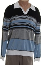 PERRY ELLIS Polo Collared Style Striped Sweater - XL