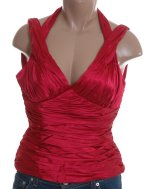 ADRIANNA PAPELL Red Satin Rusched Halter Top - Size 8