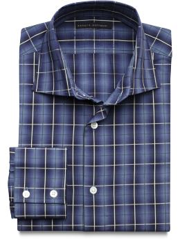 BANANA REPUBLIC Blue Plaid Long Sleeve Dress Shirt - Mens XL