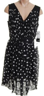 ADRIANNA PAPELL 100% Silk Black Polka Dot V Crossover Front Dress - Misses 8P,12- BRAND NEW