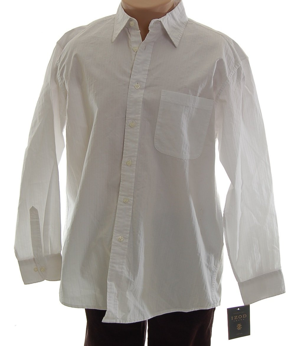 IZOD Long Sleeve Textured Cotton Shirt - Mens Large