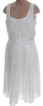 ADRIANNA PAPELL Pure White Sequined & Pleated Lined Dress - Petites 12 - BRAND NEW