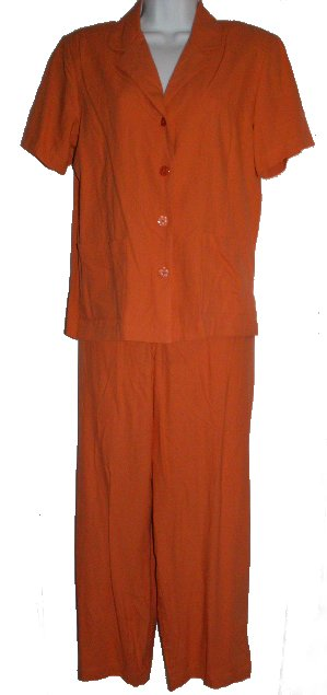 SAG HARBOR Orange 100% Raw Silk Tunic & Pants Set - Size S