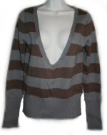 ROXY Low V-Front Striped Sweater - XL