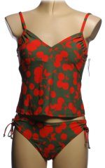 ATHENA 2 Piece Cherry Themed Tankini Swimsuit - Misses 6 - BRAND NEW!