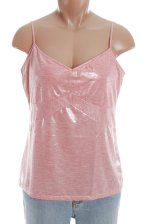 MODA INTERNATIONAL Metallic Pink Camisole Top - Misses/Jrs Large - BRAND NEW