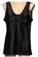 OSCAR DE LA RENTA Black Silk Sleeveless Blouse - Size 14
