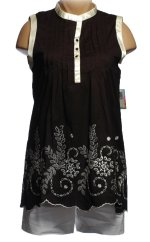 POW WOW Black Cutwork Tunic Top Blouse - Sizes 10,12,14