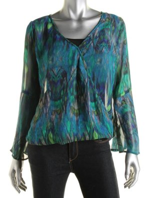 STATUS by CHENAULT Print Surplice Blouse - SMALL