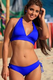 UJENA 2 Piece Royal Blue Halter Sliding Bottom Bikini