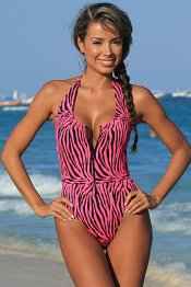 SEPHARA Zip Front Pink Zebra High Cut Leg One Piece