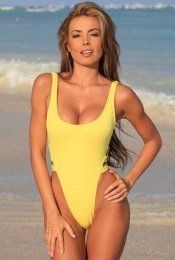 KAITLYN Sunshine Yellow High Cut Legs One Piece Swimsuit