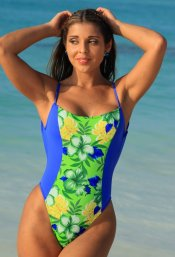 UJENA 1 Pc One Piece Blue & Floral High Cut Leg Body Shaper Swimsuit ~ 16