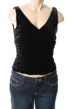 ADRIANNA PAPELL Lined Black Velvet Rusched Top - 14