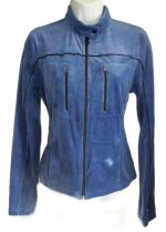 TOMMY HILFIGER Blue Velvet Velour Zip Front Jacket - Jrs Small