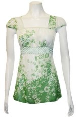 Retro Babydoll Square Neck Empire Waist Cap Sleeves Top - Green - S,M,L