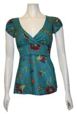 Retro Babydoll V-Neck Empire Waist Cap Puffy Sleeves w/Tie Waist - Teal Blue - S,M,L