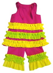 BIZZY BUMPKINS Girls Hot Pink, Yellow & Lime Green Ruffled Rhumba Capri Pants Set ~ Girls 3 Mos - 5 Yrs
