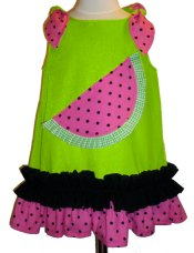 BIZZY BUMPKINS Girls Green Watermelon Themed Ruffled Dress ~ Girls 3 Mos - 5 Yrs
