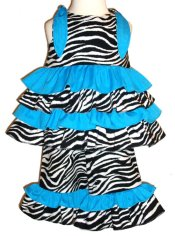 BIZZY BUMPKINS Girls Zebra Animal Print & Turquoise Ruffled Rhumba Capri Pants Set ~ Girls 3 Mos - 5 Yrs