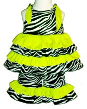 BIZZY BUMPKINS Girls Zebra Animal Print & Lime Green Ruffled Rhumba Capri Pants Set ~ Girls 3 Mos - 5 Yrs