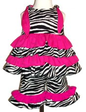 BIZZY BUMPKINS Girls Zebra Animal Print & Hot Pink Ruffled Rhumba Capri Pants Set ~ Girls 3 Mos - 5 Yrs