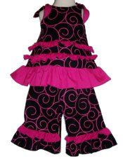 BIZZY BUMPKINS Girls Black & Pink Swirl Ruffled Rhumba Capri Pants Set ~ Girls 3 Mos - 5 Yrs