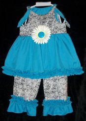 BIZZY BUMPKINS Girls Black & Turquoise Flower Ruffled Rhumba Capri Pants Set ~ Girls 3 Mos - 5 Yrs