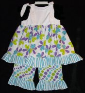 BIZZY BUMPKINS Girls Floral & Stripe Ruffled Rhumba Capri Pants Set ~ Girls 3 Mos - 5 Yrs