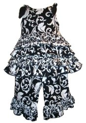 BIZZY BUMPKINS Girls Black & White Damask Ruffled Rhumba Capri Pants Set ~ Girls 3 Mos - 5 Yrs