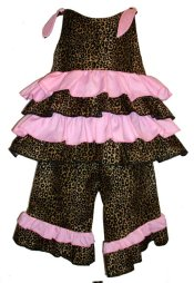 BIZZY BUMPKINS Girls Cheetah Animal Print & Pink Ruffled Rhumba Capri Pants Set ~ Girls 3 Mos - 5 Yrs