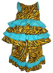 BIZZY BUMPKINS Girls Tiger Animal Print & Aqua Ruffled Rhumba Capri Pants Set ~ Girls 3 Mos - 5 Yrs