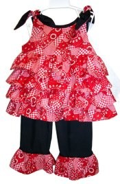 BIZZY BUMPKINS Girls Country Bandana Print & Black Ruffled Rhumba Capri Pants Set ~ Girls 6 Mos - 8 Yrs