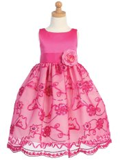 LITO Satin & Embroidered Lace Tulle Girls Dressy Dress ~ Fuchsia Pink ~ Girls 2T-12