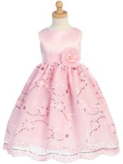 LITO Satin & Embroidered Lace Tulle Girls Dressy Dress ~ Pink ~ Girls 2T-12