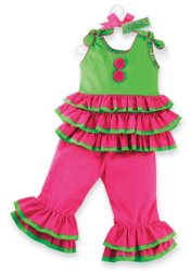 MUDPIE Girls Pink Ruffled Rhumba Top & Pants Set ~ Girls 12 -18 mos