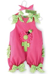 MUDPIE Little Sprout Girls Pink Bubble Romper Outfit ~ Girls 0-6 months