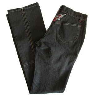 LADY ENYCE Black Unique Wings Zip Back Leg Stretch Jeans - 24