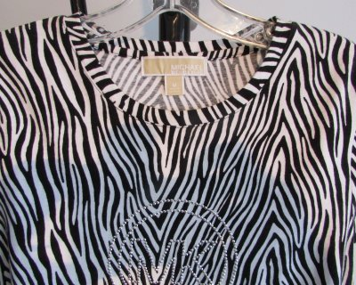 MICHAEL KORS Zebra Print Sequin T-Shirt Top - MED