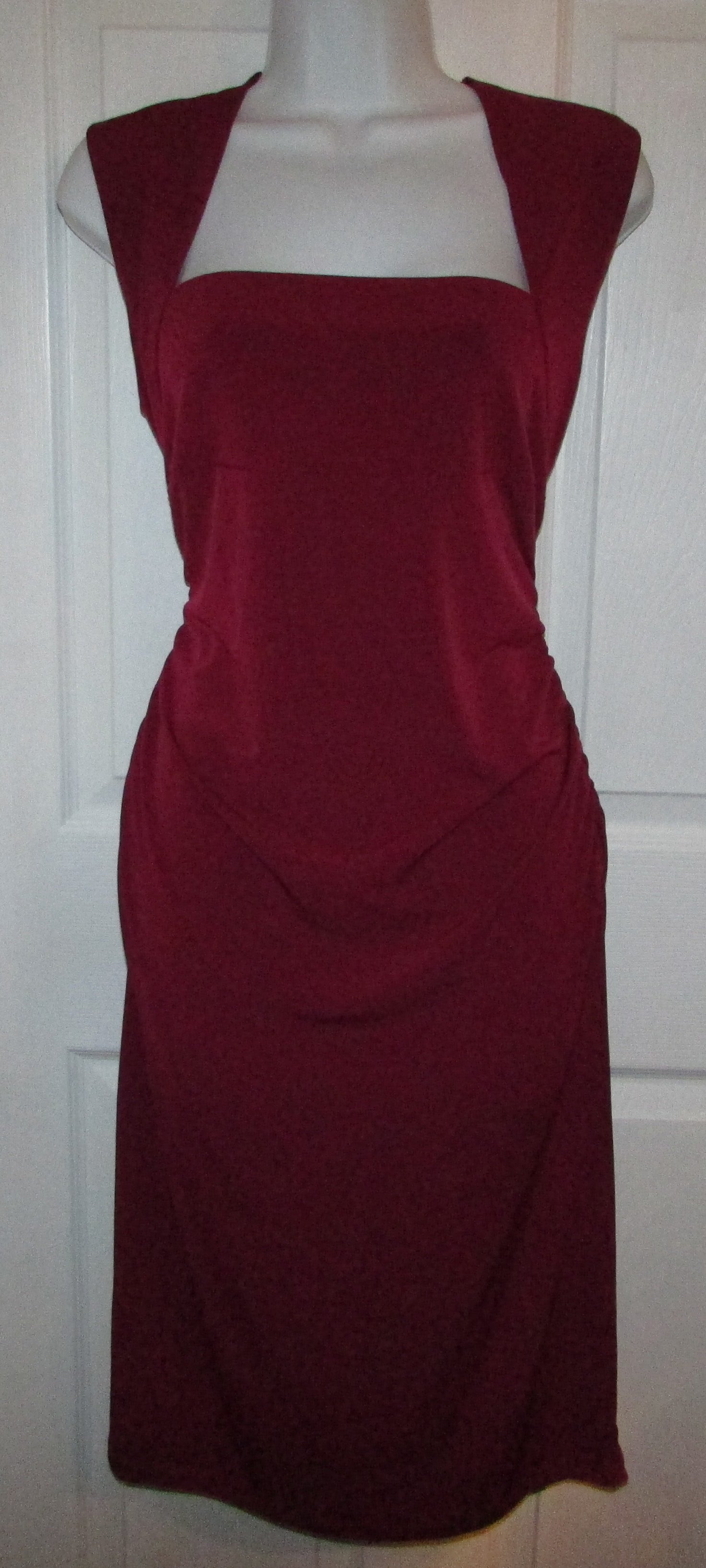 MODA INTERNATIONAL Deep Red Stretch Knit Fitted Dress - Large